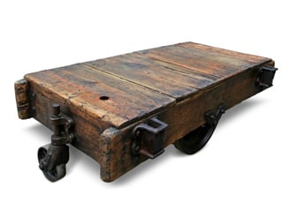 Industrial factory cart coffee table on sale