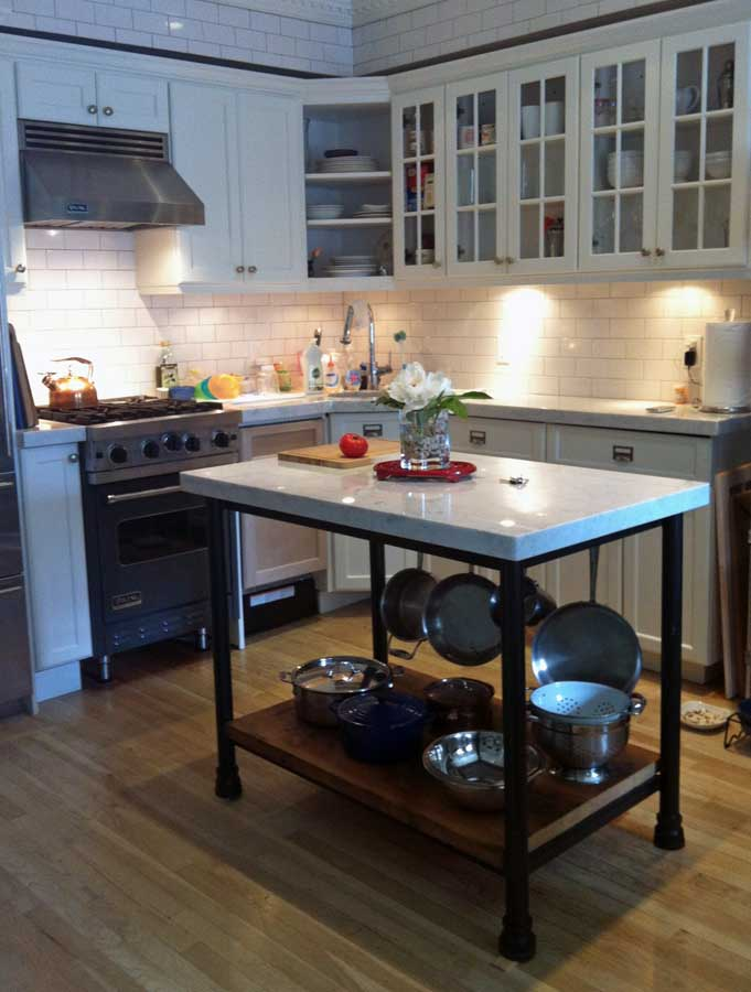 Custom kitchen island from salvaged materials olde good for Custom kitchen islands