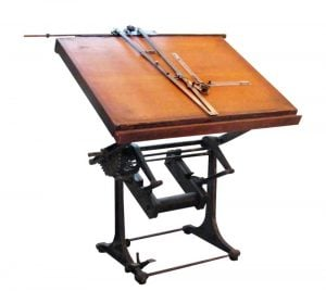 Industrial architect's drawing table