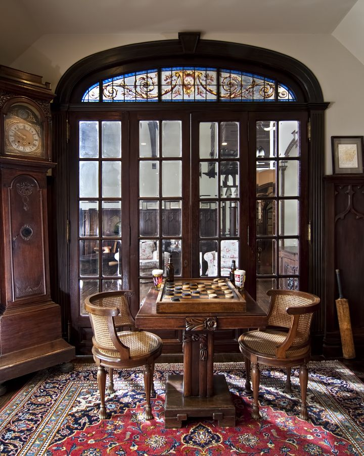 French doors with hand painted transom
