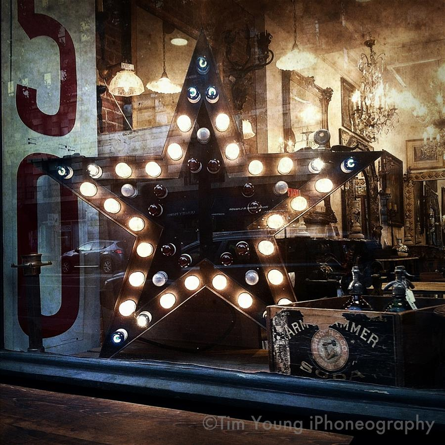 This star lights up the window of our Columbus store one last time