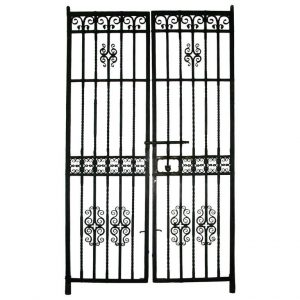 These entry gates were salvaged from a Philadelphia bank. Each measures 118.25 in. tall.