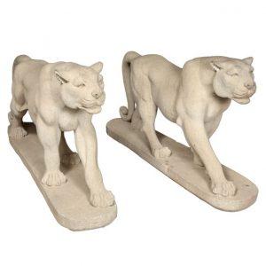 Cast stone Deco mountain lion statues