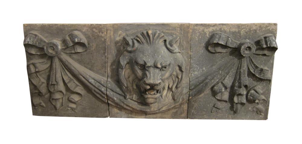 Lion three piece stone frieze