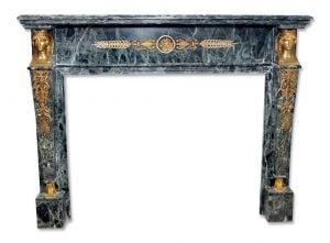 Green French Empire style marble mantel with bronze sphinx details