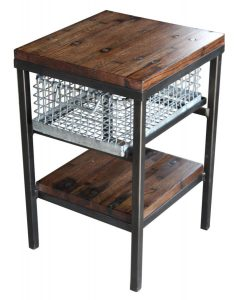 Galvanized steel basket side table with industrial flooring top and black frame