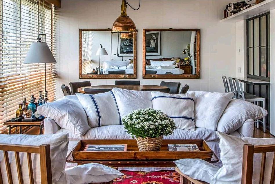 Nautical spotlight accentuating a modern living room