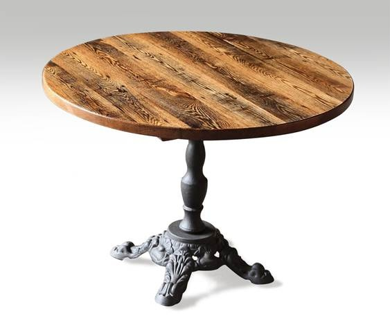 Reclaimed oak bistro table with cast iron pedestal base