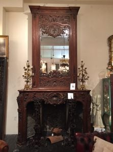 Heavily carved French oak mantel