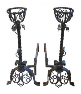 Large unusual figural wrought iron andirons