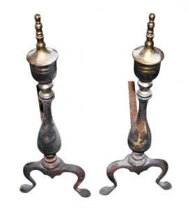 Original antique brass andirons