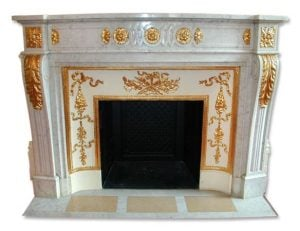Plaza Hotel marble mantel with bronze gilded ormolu