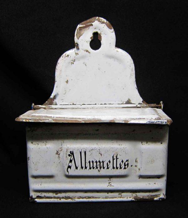 French Tin White Match Box