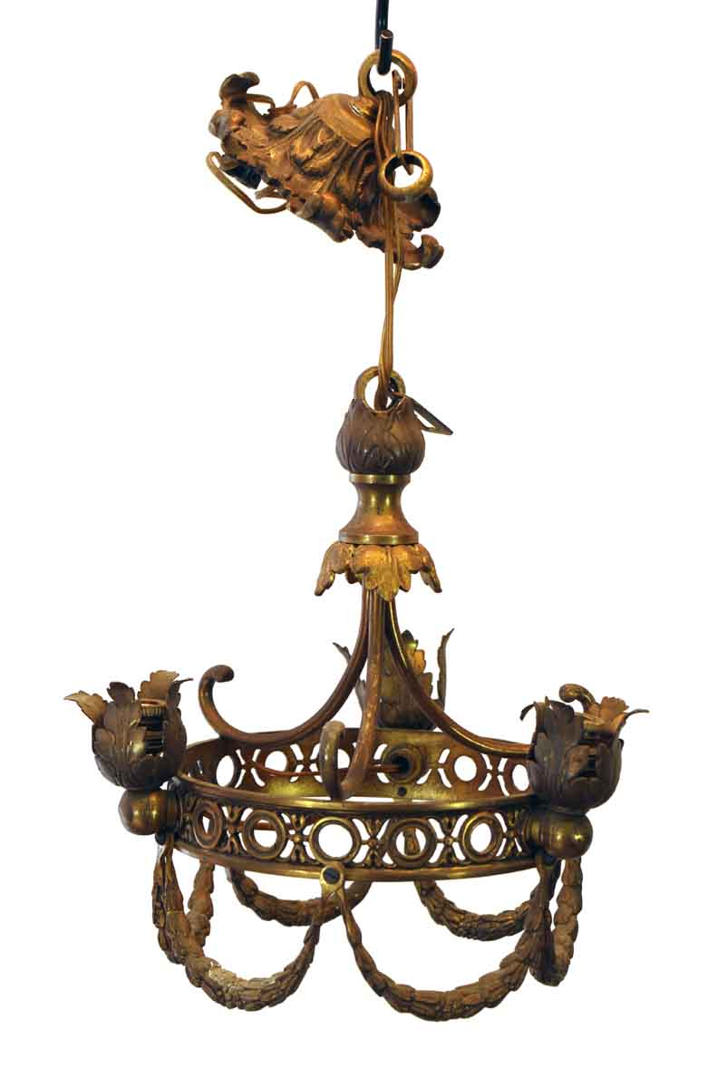 Petite French Bronze Entry Chandelier