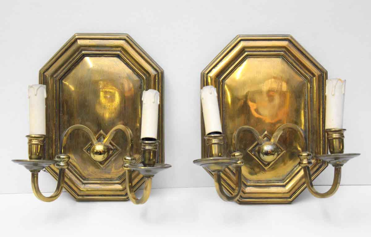 Pair of Bronze Sconces with Octagon Base