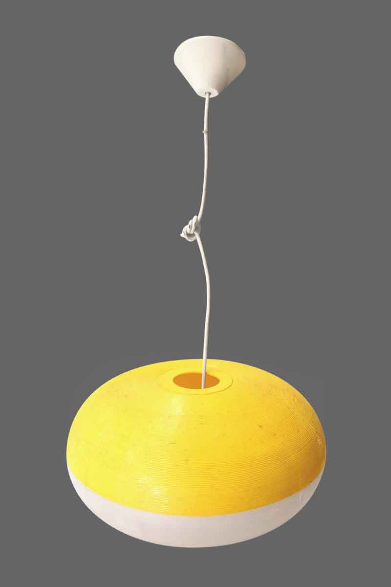 Yellow & White Mid Century Plastic Light
