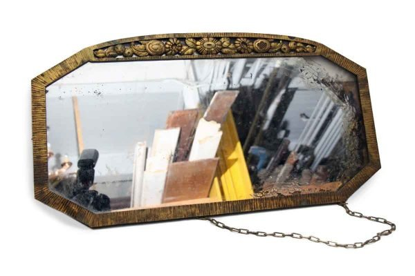 1930s Bronze Mirror with Distressed Glass