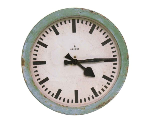European Clock Face by Siemens with Chic Green Paint