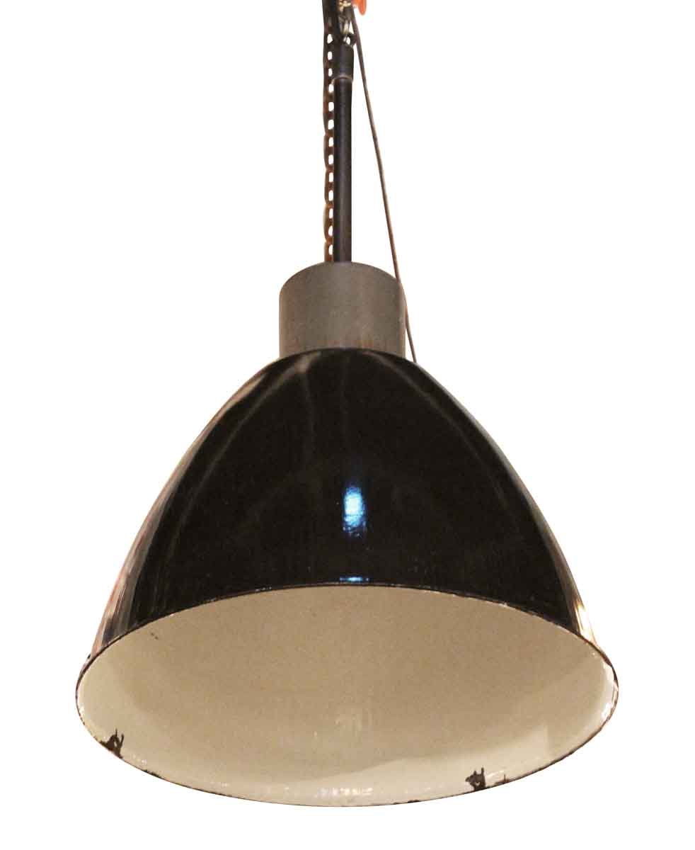 Vintage Industrial Enamel Pendant Light: Black Enamel Industrial Pendant Light