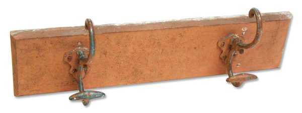 Hall Tree Hooks on Orange Wooden Plank