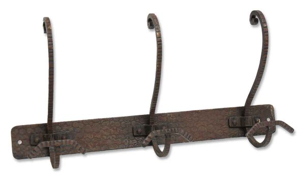 Hammered Wrought Iron Hook Rack