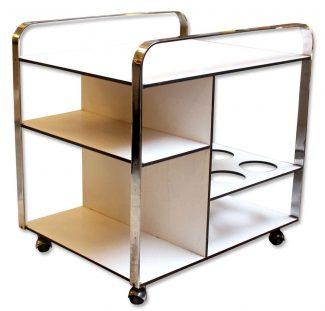 1970s Chrome U0026 White Bar Cart