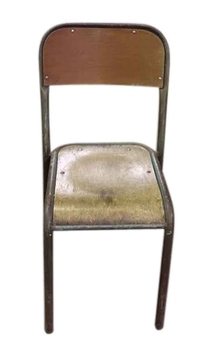 French Wooden Chairs ~ French wooden school chairs with painted metal frame