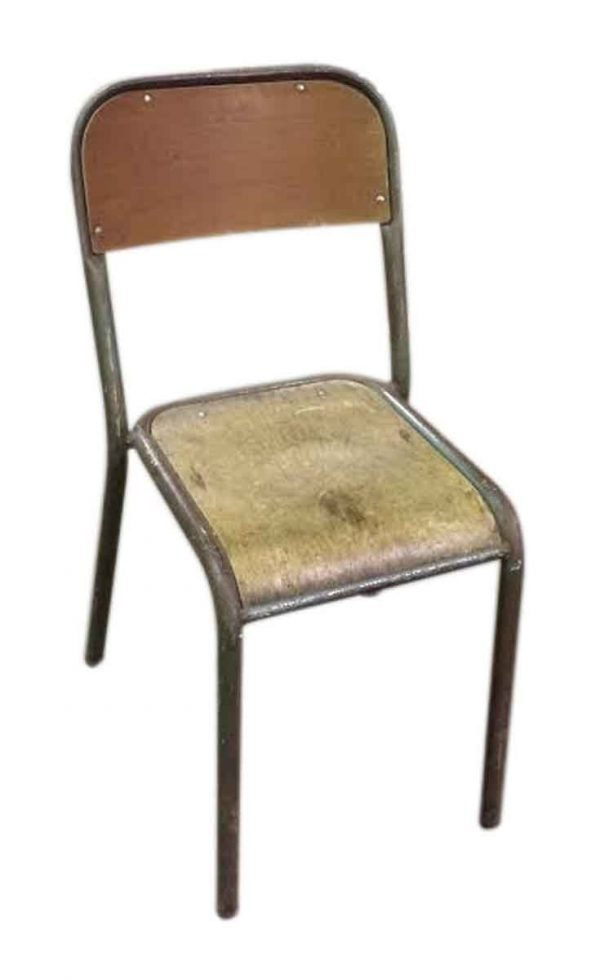 French Wooden School Chairs with Painted Metal Frame