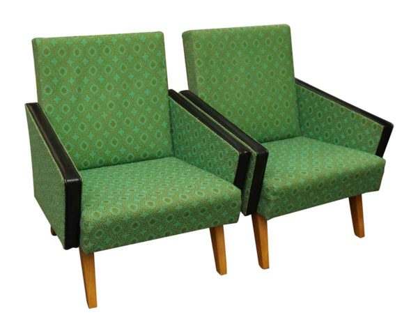 Pair of Mid Century Modern Green Arm Chairs