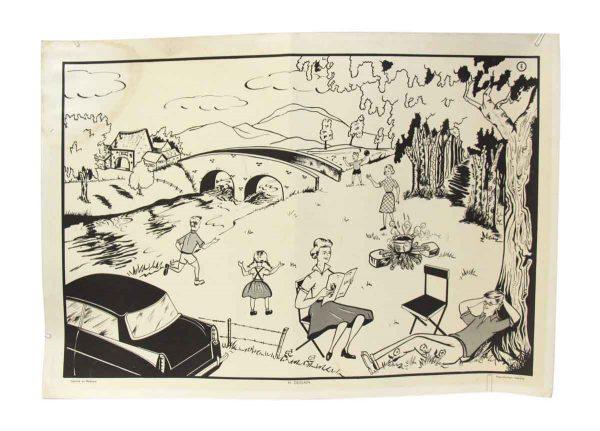 Belgian School Poster with River Scene