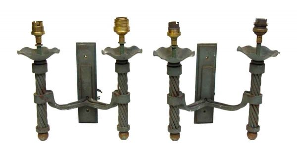 Pair of Two Arm Sconces with Original Patina