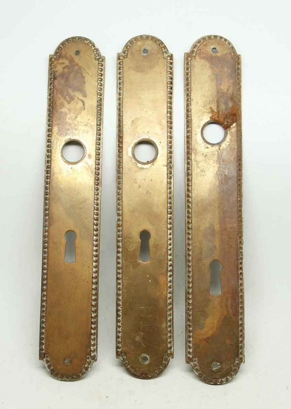 Set of Three Beaded Bronze French Back Plates