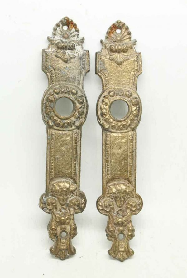 Pair of French Bronze Ornate Back Plates