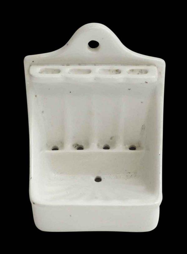 Vintage White Soap Dish & Toothbrush Holder