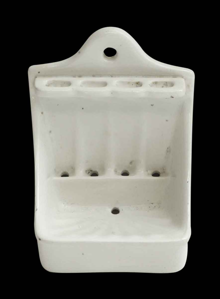 Vintage White Soap Dish & Toothbrush Holder