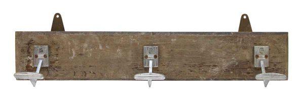 Three Hook Wooden Plank Rack