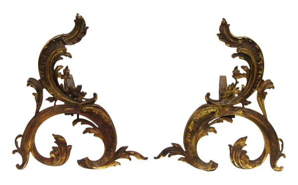Pair of Ornate Bronze French Andirons