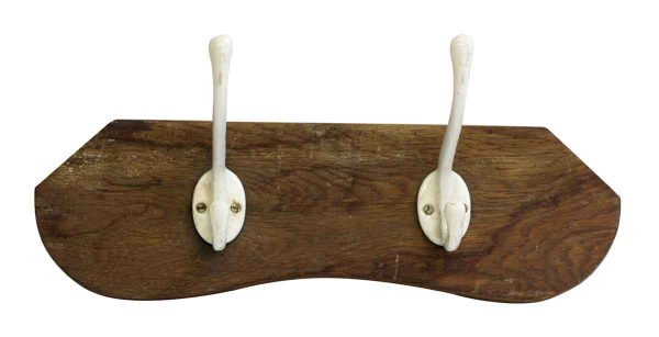 Two Porcelain Hooks on Plank