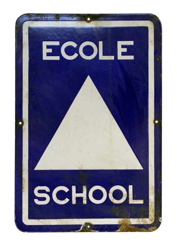 French Blue & White Metal School Sign