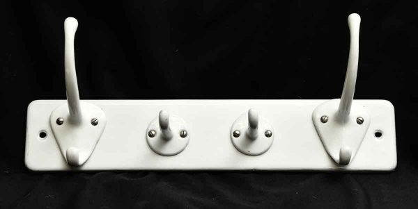 Vintage White Porcelain Rack with Four Hooks