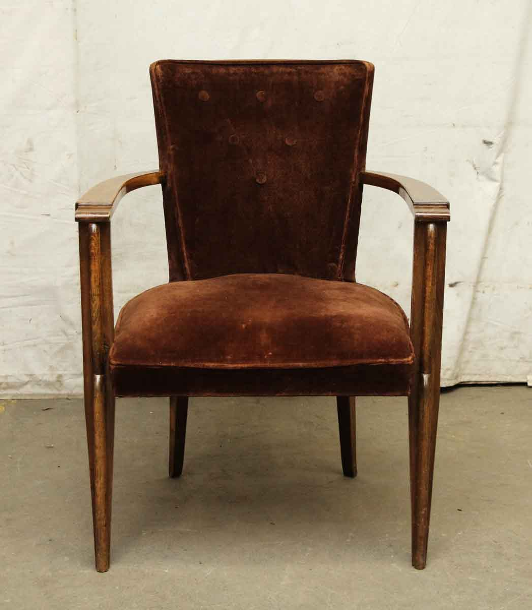 Pair of brown velvet arm chairs olde good things for Pair of chairs for living room
