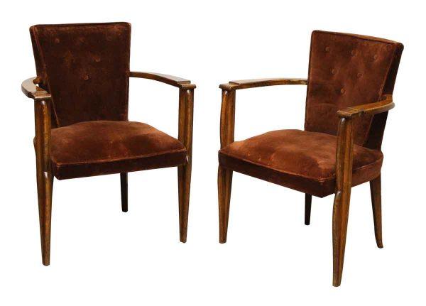 Pair of Brown Velvet Arm Chairs