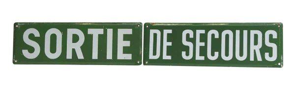 Vintage Sortie de Secours Sign Set