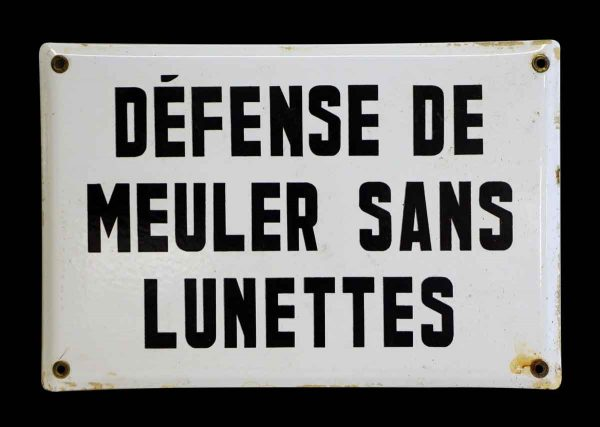 Black & White Enamel Coated French Sign