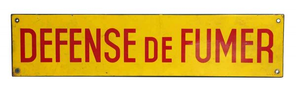 Defense de Fumer Metal Sign