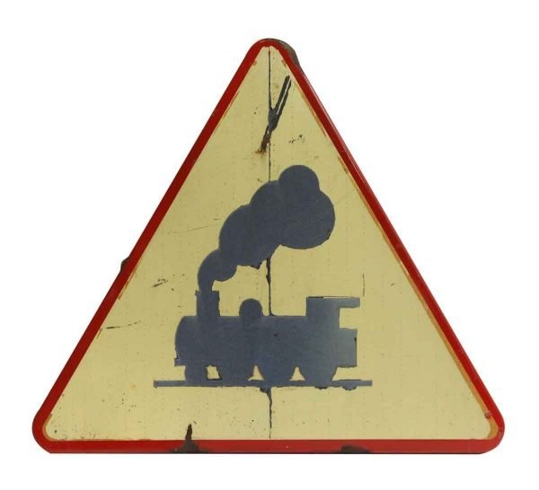 European Vintage Train Road Sign