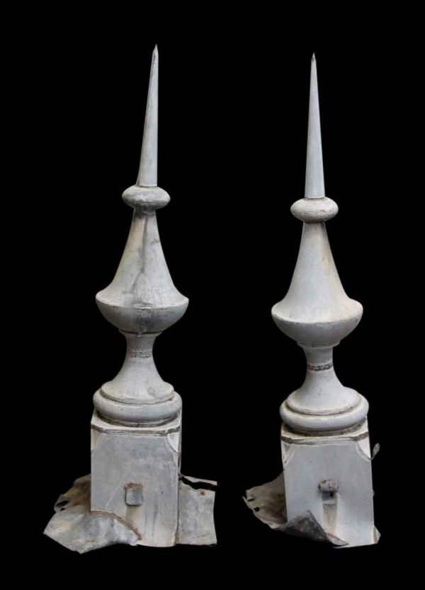 Pair of Gothic Style Zinc Finials
