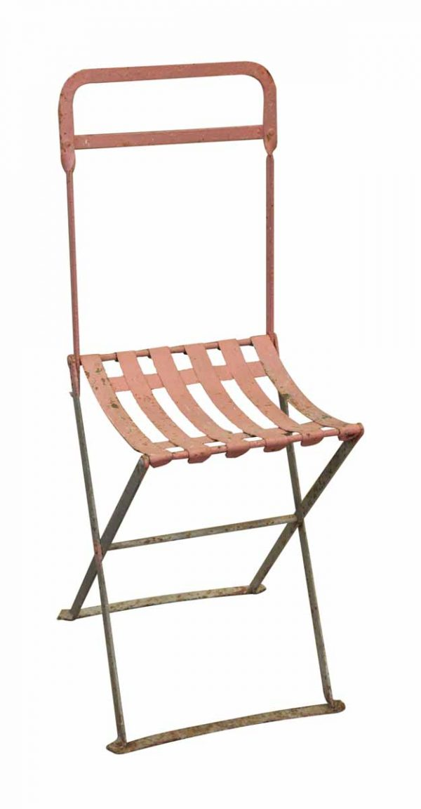 Set of Four Pink Painted Metal Folding Chairs