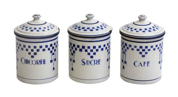 French Blue & White Ceramic Lustucru Lidded Jars