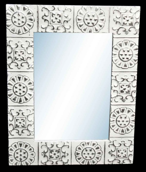 Alternating Flower 4.5 in. Tin Framed Mirror